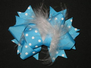 "NEW """"MINI POOF Blue"""" Fur Hairbow Alligator Clips Girls Grosgrain Ribbon Hair Bow"