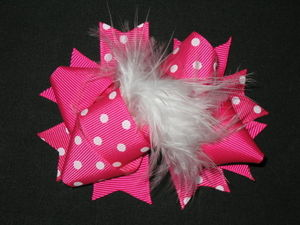 "NEW """"MINI POOF Hot Pink"""" Fur Hairbow Alligator Clips Girls Grosgrain Ribbon Bows"