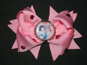 "NEW """"SNOW WHITE Apple"""" Rhinestone Hair Bow Girls Ribbon Clip Disney Princess Bow"