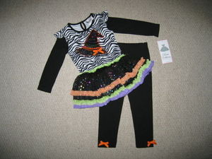 "NEW """"WITCH HAT"""" Zebra Tutu Pants Girls Clothes 6m Halloween Fall Baby Outfit"