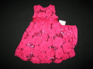 "NEW """"FUSHIA SOUTACHE SEQUIN"""" Dress Girls 6m Fall Winter Clothes Baby Holiday"