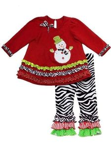 "NEW """"SNOWMAN ZEBRA RUFFLES"""" Pants Girls Clothes 4T Christmas Toddler Holiday"