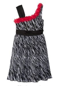 "NEW ""Zebra Chiffon Rosette"" Slant Dress Girls 5 Spring Summer Clothes Kids Party"