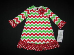 "NEW """"WAVY CHRISTMAS CHEVRON"""" Dress Girls 2T Fall Winter Clothes Holiday"
