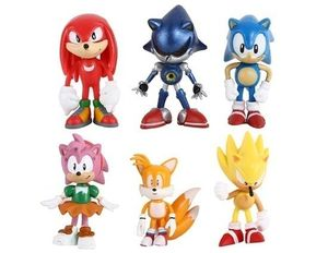 Sonic The Hedgehog Cake Topper Tails Knuckles Amy Super Sonic 6 Figure Set Birthday Party Cupcakes Figurines Fast Shipping Toy Doll Set