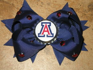 "NEW """"ARIZONA Wildcats"""" University Girls Ribbon Hair Bow Rhinestone Clip NCAA"
