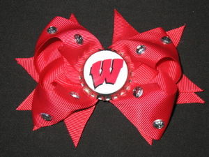 "NEW """"WISCONSIN Badgers"""" University Girls Ribbon Hair Bow Rhinestone Clip NCAA"
