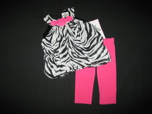 "NEW """"ZEBRA ROSEBUD"""" Chiffon Capri Pants Girls 24m Spring Summer Clothes Boutique"