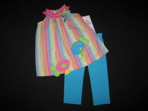 "NEW """"FISHY SOULMATES"""" Capri Pants Girls Clothes 3m Spring Summer Baby Beach"