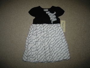 "NEW """"BLACK ZIG-ZAG RUFFLE"""" Dress Girls Clothes 4T Spring Summer Boutique Toddler"