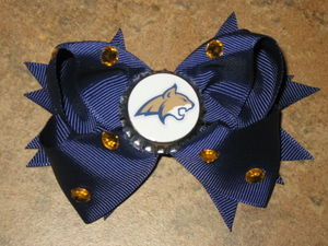 "NEW """"MONTANA STATE Bobcats"""" MSU University Girls Ribbon Hair Bow Rhinestone NCAA"