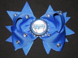 "NEW """"KANSAS CITY ROYALS"""" Pro Baseball Girls Ribbon Hair Bow Rhinestone Clip MLB"