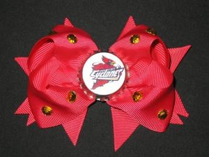 "NEW """"IOWA STATE Cyclones"""" University Girls Ribbon Hair Bow Rhinestone Clip NCAA"