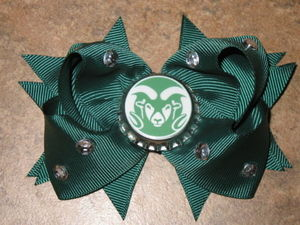 "NEW """"COLORADO STATE Rams"""" CSU University Girls Ribbon Hair Bow Rhinestone NCAA"