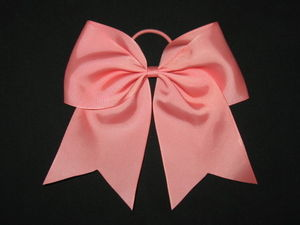 "NEW """"CORAL ROSE"""" Cheer Bow Pony Tail 3 Inch Ribbon Girls Hair Bows Cheerleading"