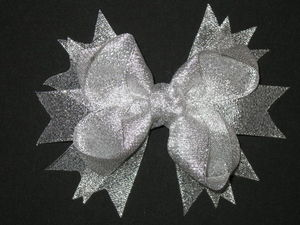 "NEW """"METALLIC SILVER"""" Sparkly Hairbow Alligator Clips Girls Ribbon Bows 5 Inches"