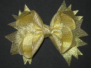 "NEW """"METALLIC GOLD"""" Sparkly Hairbow Alligator Clips Girls Ribbon Bows 5 Inches"