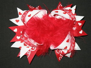"NEW """"VALENTINE FUNKY HEARTS"""" Fur Hairbow Alligator Clips Girls Ribbon 5 Inches"