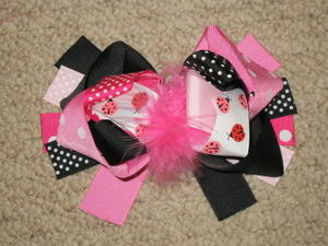 "NEW """"PINK & BLACK LADYBUGS"""" Fur Hairbow Alligator Clips Girls Ribbon Bows 5.5 in"