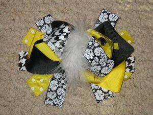 "NEW """"DAMASK YELLOW"""" Fur Hairbow Alligator Clips Girls Ribbon Hair Bows 5.5 Inch"