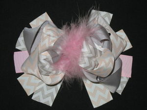 "NEW """"Gray & Pastels CHEVRON"""" Fur Hairbow Alligator Clips Girls Ribbon Bow 5.5 in"