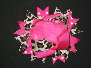 "NEW """"HOT PINK LEOPARD POOF"""" Fur Hairbow Alligator Clips Girls Ribbon Bows 4.5 In"