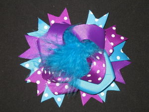 "NEW """"PURPLE & TURQUOISE POOF"""" Fur Hairbow Alligator Clips Girls Ribbon Bows 4.5"""""