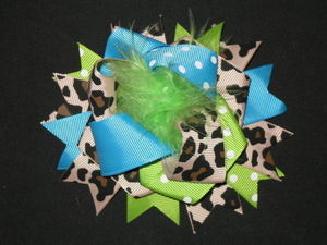 "NEW """"BLUE GREEN LEOPARD POOF"""" Fur Hairbow Alligator Clips Girls Ribbon Bows 4.5"""""
