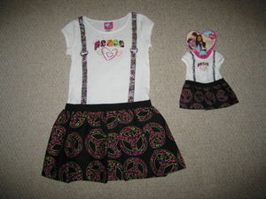 "NEW """"PEACE HIPSTER"""" Dress & Doll Outfit Girls 4/5 Spring Summer Clothes American"