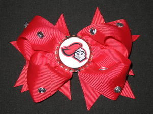 "NEW """"RUTGERS Scarlet Knights"""" University Girls Ribbon Hair Bow Rhinestone NCAA"