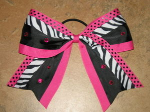 "NEW """"ZEBRA DOTS BLING PINK"""" Cheer Bow Pony Tail 3 Inch Ribbon Girls Cheerleading"