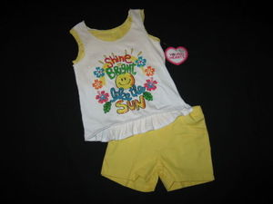 "NEW """"SUNSHINE"""" Glittery Shorts Girls Clothes 6 Spring Summer Boutique Beach Kid"