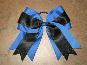"NEW """"BLUE & BLACK GLITTER"""" Cheer Bow Pony Tail 3 Inch Ribbon Girls Cheerleading"