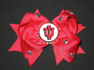"NEW """"INDIANA HOOSIERS"""" College Girls Ribbon Hairbow Bow Rhinestone Clip NCAA"