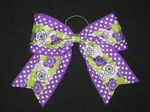 "NEW """"PURPLE & LIME FLORAL"""" Cheer Bow Pony Tail 3 Inch Ribbon Girls Cheerleading"