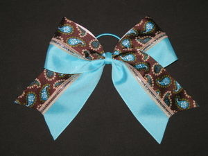 "NEW """"TEAL & MOCHA PAISLEY"""" Cheer Bow Pony Tail 3 Inch Ribbon Girls Cheerleading"