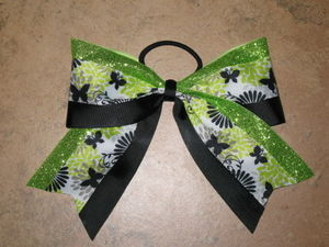 "NEW """"LIME & BLACK BUTTERFLY"""" Cheer Bow Pony Tail 3"""" Ribbon Girls Cheerleading"