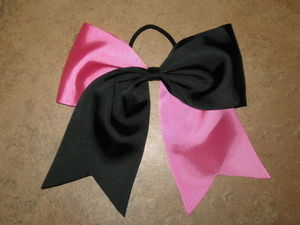 "NEW """"PINK & BLACK"""" Tick Tock Cheer Bow Pony Tail 3"""" Ribbon Girls Cheerleading"