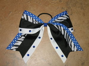 "NEW """"ZEBRA DOTS BLING BLUE"""" Cheer Bow Pony Tail 3 Inch Ribbon Girls Cheerleading"
