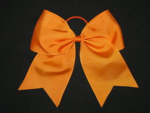 "NEW """"ORANGE"""" Cheer Bow Pony Tail 3 Inch Ribbon Girls Hair Bows Cheerleading Kids"
