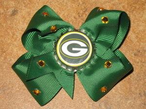 "NEW /""NEW YORK GIANTS/"" Pro Football Girls Ribbon Hair Bow Rhinestone Clip NFL"