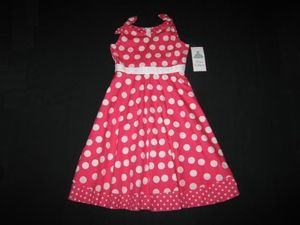 "NEW """"CORAL CIRCLE DOTS"""" Dress Girls Clothes 7 Spring Summer Boutique Kids Teen"