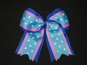 "NEW """"TEAL PURPLE BLUE"""" Cheer Hair Bow Pony Tail 3 Inch Ribbon Girls Cheerleading"
