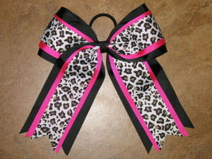 "NEW """"LEOPARD BLACK PINK"""" Cheer Hair Bow Pony Tail 3 In Ribbon Girls Cheerleading"