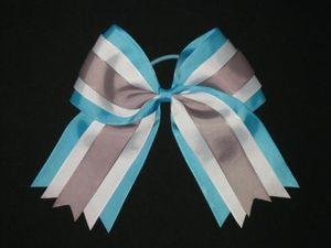 "NEW """"TEAL WHITE GRAY"""" Cheer Hair Bow Pony Tail 3 Inch Ribbon Girls Cheerleading"