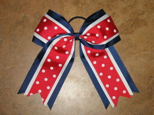 "NEW """"PATRIOTIC DOTS"""" Cheer Hair Bow Pony Tail 3 Inch Ribbon Girls Cheerleading"