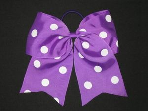 "NEW """"POLKA-DOT PURPLE"""" Cheer Bow Pony Tail 3 Inch Ribbon Girls Hair Cheerleading"