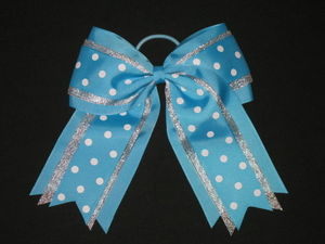 "NEW """"SILVER TEAL DOTS"""" Cheer Hair Bow Pony Tail 3 Inch Ribbon Girls Cheerleading"