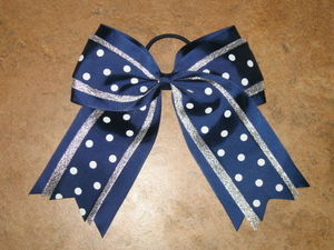 "NEW """"SILVER NAVY DOTS"""" Cheer Hair Bow Pony Tail 3 Inch Ribbon Girls Cheerleading"