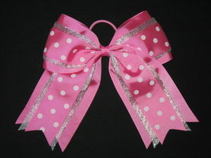 "NEW """"SILVER LIGHT PINK DOTS"""" Cheer Hair Bow Pony Tail 3 Inch Ribbon Cheerleading"